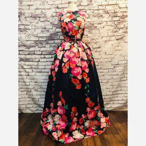 Eliza J floral poppy navy  belt ball gown dress 6